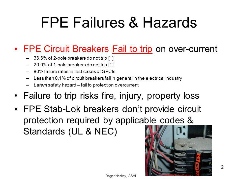 FPE Failures & Hazards FPE Circuit Breakers Fail to trip on over-current. 33.3% of 2-pole breakers do not trip [1]
